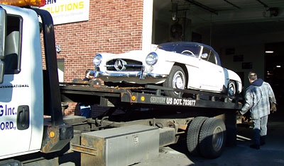 This 1958 Mercedes-Benz 190SL was shipped to our Waltham, Massachusetts shop from New York for mechanical restoration before the summer driving season.