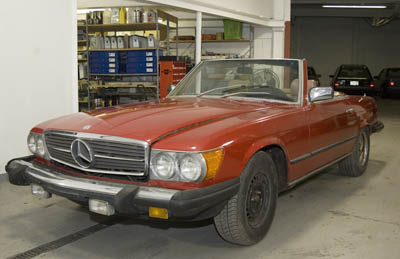 This 1981 Mercedes-Benz 380SL is just starting a major mechanical restoration, including updating the single timing chain to a double timing chain.