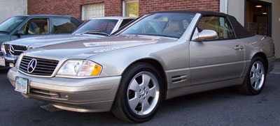 A 1999 Mercedes-Benz SL500, owned by one of our good customers from Westport, CT., recently visited our shop for synthetic oil service, front brake pad replacement, and an exterior detail.
