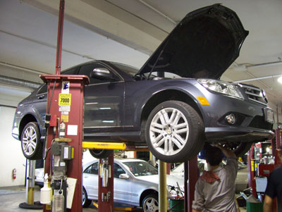 A new 2008 Mercedes-Benz C300 4-Matic undergoing it's first 'A' service.