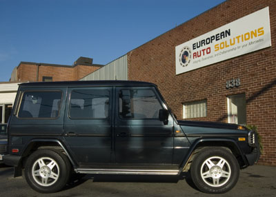 "This 1997 Mercedes-Benz G 320 is in for a major service. The ""G"" is for Gelande (off road) and was introduced to the European retail market in 1979 as a synergy between the tool and the leisure vehicle."