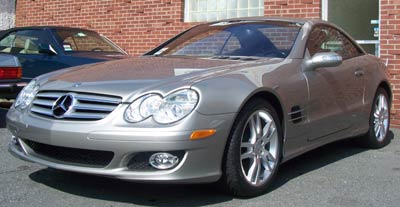 2007 Mercedes-Benz SL550 in for scheduled A-Service, reset of TPMS system, and exterior detail.