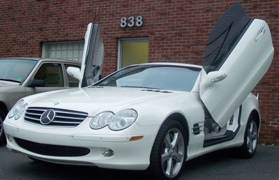 A 2004 Mercedes-Benz SL600 with custom doors by Luxury Details was recently in for routine maintenance.