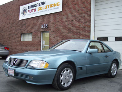 This 95 Mercedes-Benz SL320 in DB-888 Beryll Metallic was recently at European Auto Solutions for a major service.